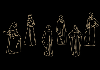 Abaya Vector Illustrations - vector gratuit #397095