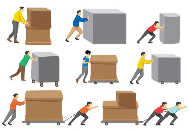 Free Man Pushing Boxes - vector gratuit #397125
