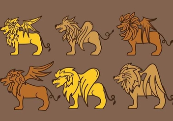 Winged Lion Vector - vector gratuit #397145