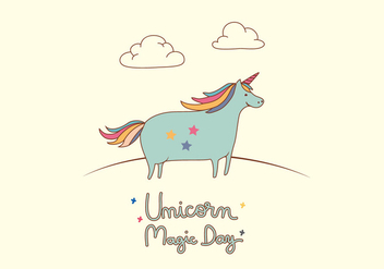 Unicorn Card Illustration - Free vector #397155