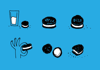 Handdrawn Oreo Vector Set - Free vector #397175