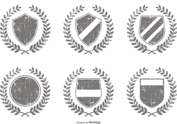Distressed Vector Crest Shapes - Free vector #397215