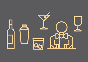 Barman Vector Icons - бесплатный vector #397315