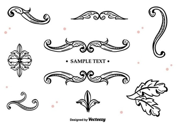 Hand Drawn Vector Ornaments - vector gratuit #397365