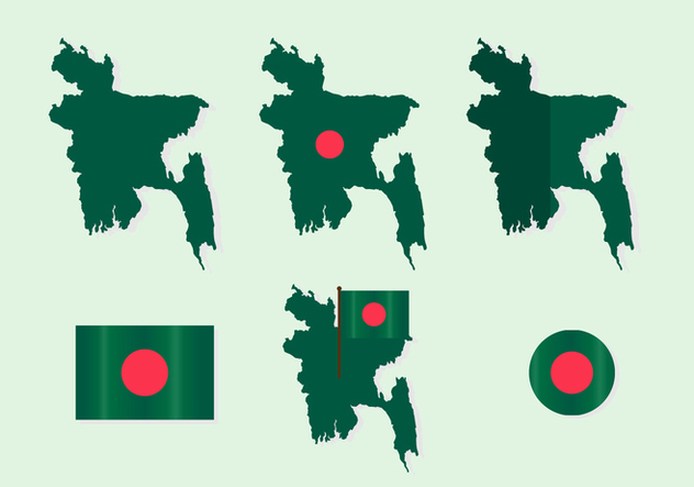 Bangladesh Map with Flag Vector Set - vector gratuit #397375