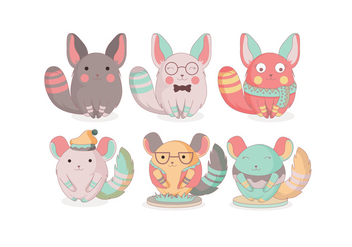 Chinchilla Cute Vector - vector #397535 gratis