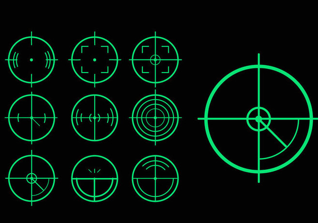 Green target laser tag variation vector pack - Kostenloses vector #397695