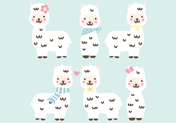 Super Cute Alpacas - vector gratuit #397705