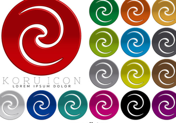 Maori Koru 3D Icon Colorful Buttons Vector - Kostenloses vector #398065