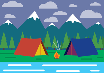 Free Flat Design Vector Landscape With Tent - vector gratuit #398245