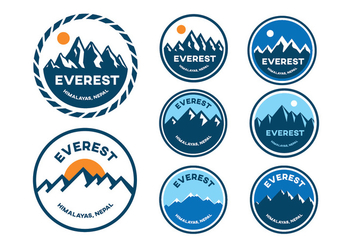 Mountain Everest Badge Vectors - vector #398255 gratis