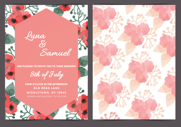 Vector Red Poppy Wedding Invite - vector gratuit #398285