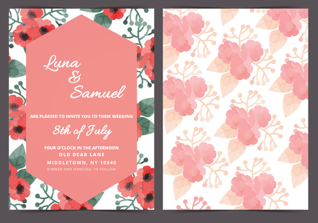 Vector Red Poppy Wedding Invite - бесплатный vector #398285
