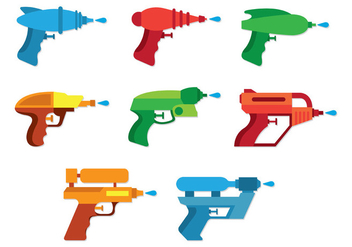 Set Of Water Gun Icons - Free vector #398405
