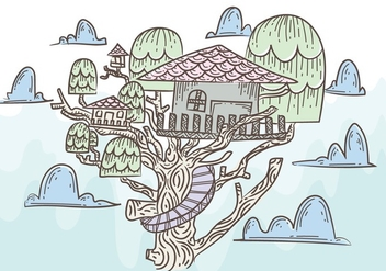 Free Tree House Vector Illustration - vector gratuit #398515