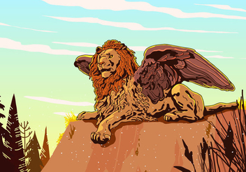 Winged Lion Vector - vector gratuit #398625