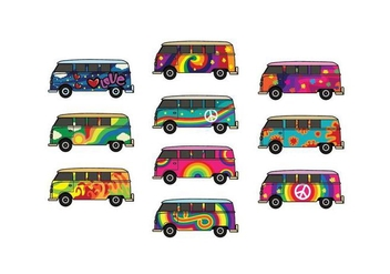 Free Hippie Bus Vector Pack - Free vector #398635