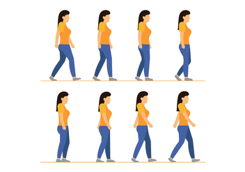 Woman walking cycle vectors - Free vector #398775