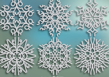 Elegant Ornamental Snowflakes - Vector set - бесплатный vector #398855