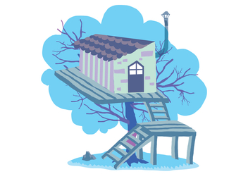 Fun Tree House Vector Illustration - vector gratuit #398965