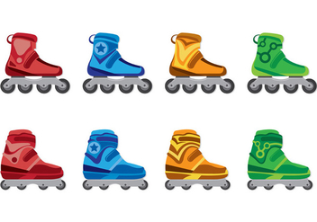 Set Of Roller Blade Icons - vector gratuit #399115