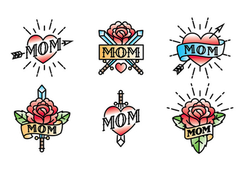 Mom Tattoo Vector Free - Free vector #399125