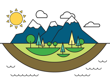 Landscape Island Vector Illustration - Free vector #399225