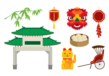China Town Element Vector Free - Free vector #399235