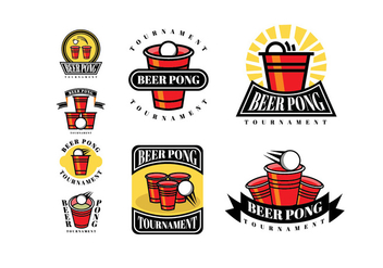 Beer Pong Patches and Logos - Kostenloses vector #399255