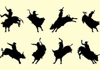 Bull Rider Silhouettes - Free vector #399305