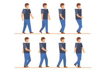 Man walk cycle vectors - vector gratuit #399315