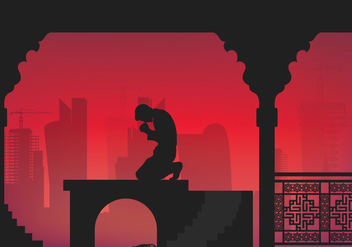 Qatar Man Pray Illustration - Kostenloses vector #399355