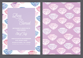 Vector Watercolor Gem Wedding Invite - бесплатный vector #399395