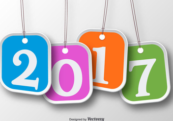 Set Of Four Tag Labels For 2017 New Year Celebration - vector gratuit #399565