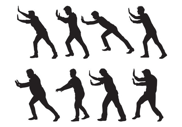 Free Man Pushing Silhouettes Vector - бесплатный vector #399735