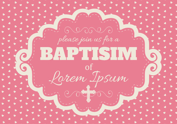 Cute Pink Baptisim Card - vector gratuit #399815