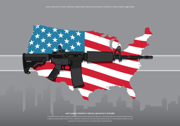 AR15 America Army Illustration - vector gratuit #399865