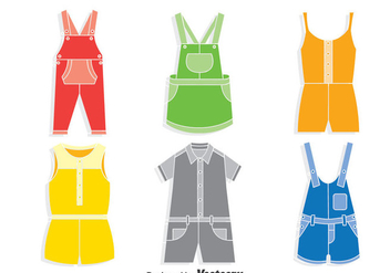 Colorful Overalls Vector Set - vector gratuit #400275