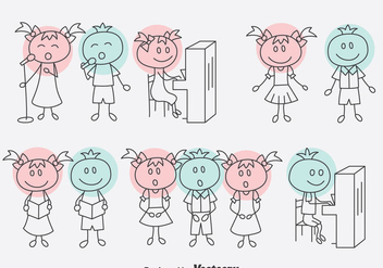 Hand Drawn Cartoon Choir Vector Set - Kostenloses vector #400295