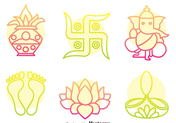 India Culture Colorful Icons Vector - vector gratuit #400325