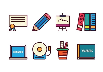Free School Icon Set - vector gratuit #400385