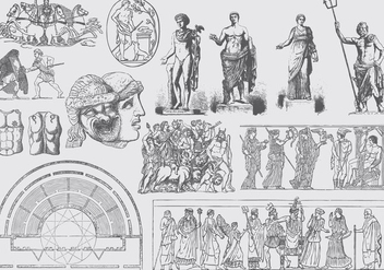 Gray Greek Art Illustrations - vector gratuit #400545