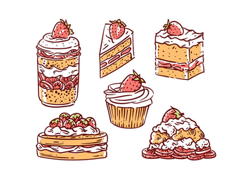 Strawberry Shortcake Illustration Vector Free - vector gratuit #400755