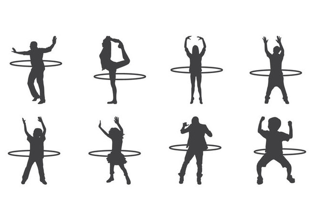 Free Hula Hoop Silhouettes Vector - бесплатный vector #400985