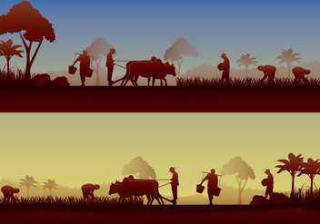 Asian Farmer Silhouette - vector gratuit #401145