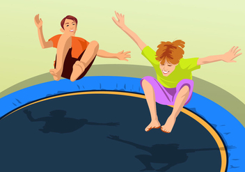 Bouncing On A Trampoline - Free vector #401175