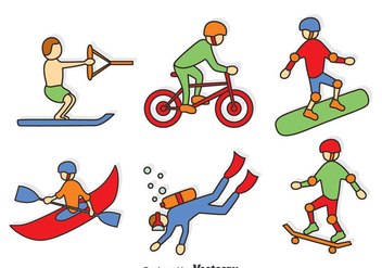 Hand Drawn Extreme Sport Vector Set - Free vector #401215
