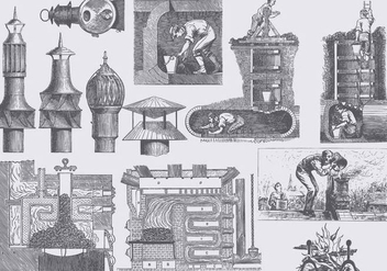 Vintage Chimney Illustrations - бесплатный vector #401305