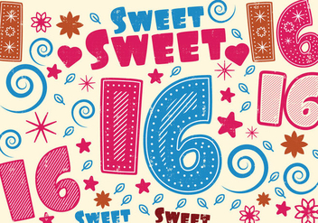 Sweet 16 Greeting Card - vector gratuit #401365