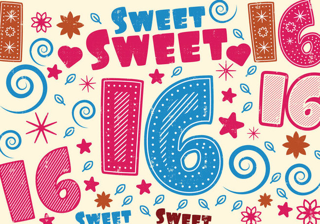 Sweet 16 Greeting Card - Free vector #401365